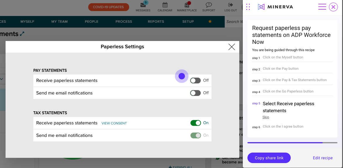 Step 5: Select Receive paperless statements